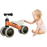 Ancaixinミニバイク ペダルなし自転車 幼児用三輪車 10ヶ月-2歳用チャレンジバイク 1歳誕生日プレゼント (オレンジ)