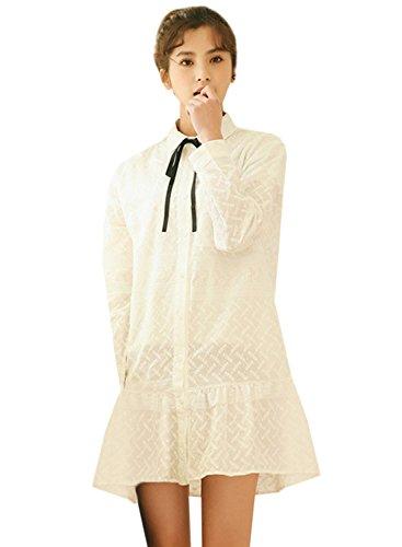 (アザブロ ガール)Azbro Girl レディース 白 可愛い 無地 刺繍 スウィート チュニック 着痩せ スタイリッシュ ワンピース