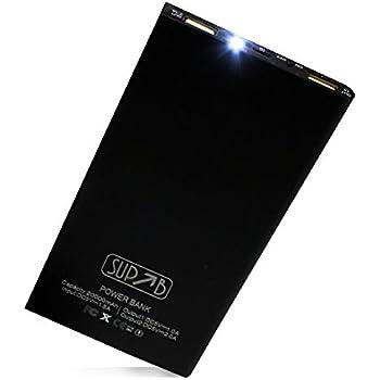 SUP-B 大容量モバイルバッテリー 薄型 20000mAh 軽量 iPhone&Android対応 2ポート LEDライト付 SUP100MB-K