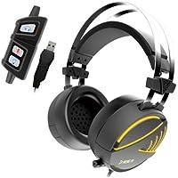 GAMDIAS 高集音性 重低音 7.1サラウンドサウンド ヘッドフォン コンピュータ ヘッドセット ステレオ マイ ク密閉型 騒音隔離 マイク調節可 LEDライトヘッドフォン HEBE M1