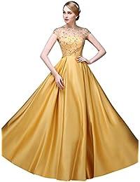 d7b3f466d7b12 Beauty-Emily レース O-ネッAライン ロングドレス フェミニンワンピース ウェディング ドレス キャップ スリーブ レース アップ  イブニングドレス 花嫁介添人ドレス…