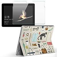 Surface go 専用スキンシール ガラスフィルム セット サーフェス go カバー ケース フィルム ステッカー アクセサリー 保護 ファッション 猫 英語 013903