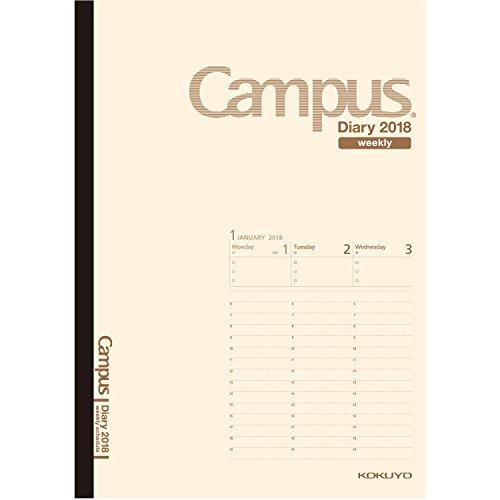 コクヨ キャンパスダイアリー 手帳 2018年 1月始まり ウィークリー A5 クリーム ニ-CWVLS-A5-18