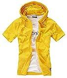 GuDeKe夏 メンズ パーカー 半袖 tシャツ トレーナー ジャケット無地 パーカー メンズ フード 付き スウェット シンプル 着回し(イエロー4.2.2)