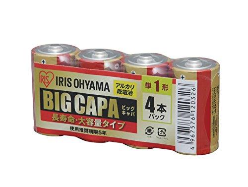 アイリスオーヤマ アルカリ乾電池 BIG CAPA 長寿命・大容量タイプ 単1形 4本パック LR20IRB-4S
