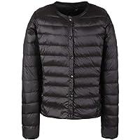 omniscient Womens Warm Light Slim Fit Collarless Packable Puffer Down Coats Jacket