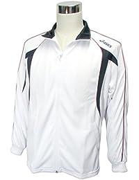 (アシックス)asics メンズ トレーニングジャケット L 白/濃灰/赤