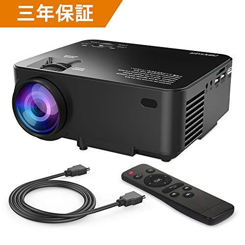 DBPOWER ミニ LED プロジェクター 1500ルーメン 1080P 800*480解像度 HDMIケーブル付属 ホームシアター パ...