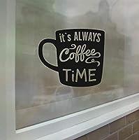 Ansyny 42 * 48センチコーヒーティータイム壁飾りショップサインウィンドウガラスアート壁画コーヒーカップビニールウォールステッカー取り外し可能なキッチンルームの装飾