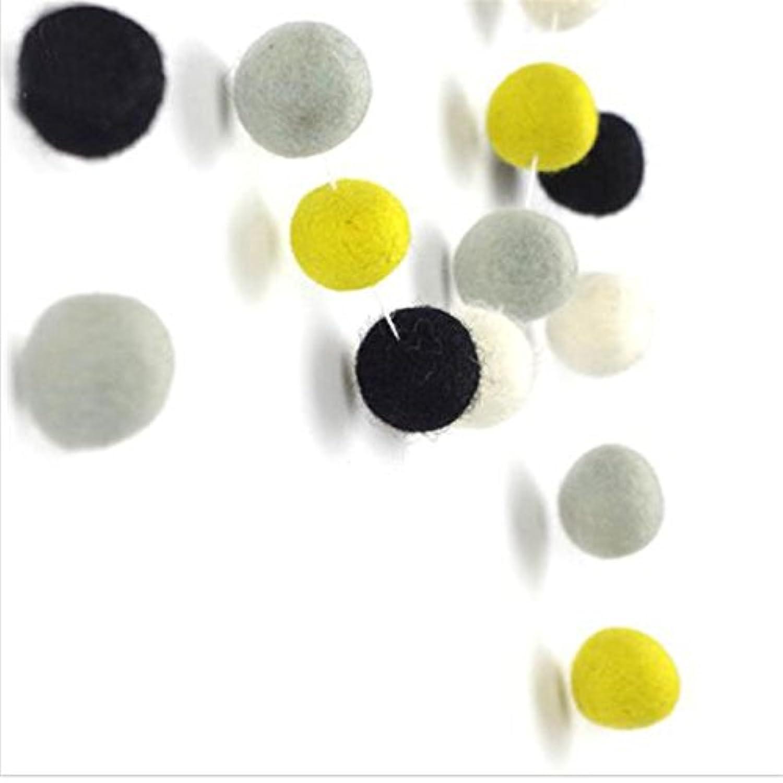 Felt Ball Garland Young 36 Felt Balls 2 Metres Nursery Decor Yellow Grey Black Home Party Decor
