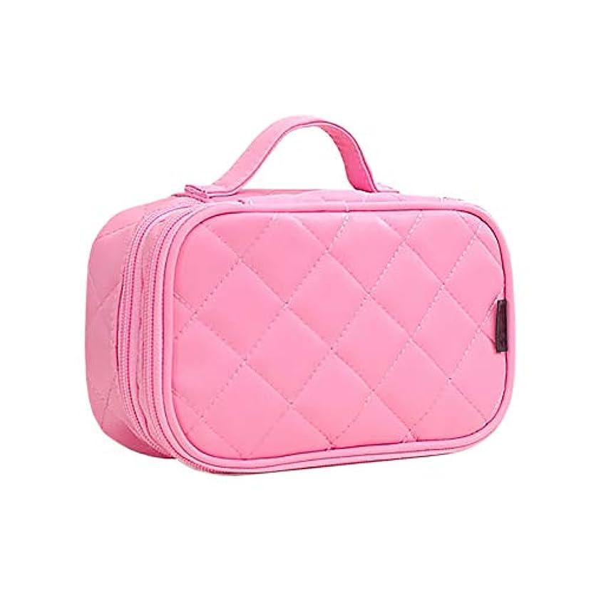 批判的に男らしさ可塑性HOYOFO 化粧ポーチ コスメ収納 おしゃれ 化粧品 ブラシ入れ 旅行 防水 2段式 キルト かわいい ピンク M
