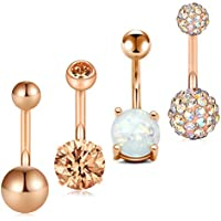 Briana Williams 14G Belly Button Rings Bananabell Piercing Belly Navel Bars 10mm Curved Barbell Piercing for Women Men Body Piercing Jewellery 5PCS