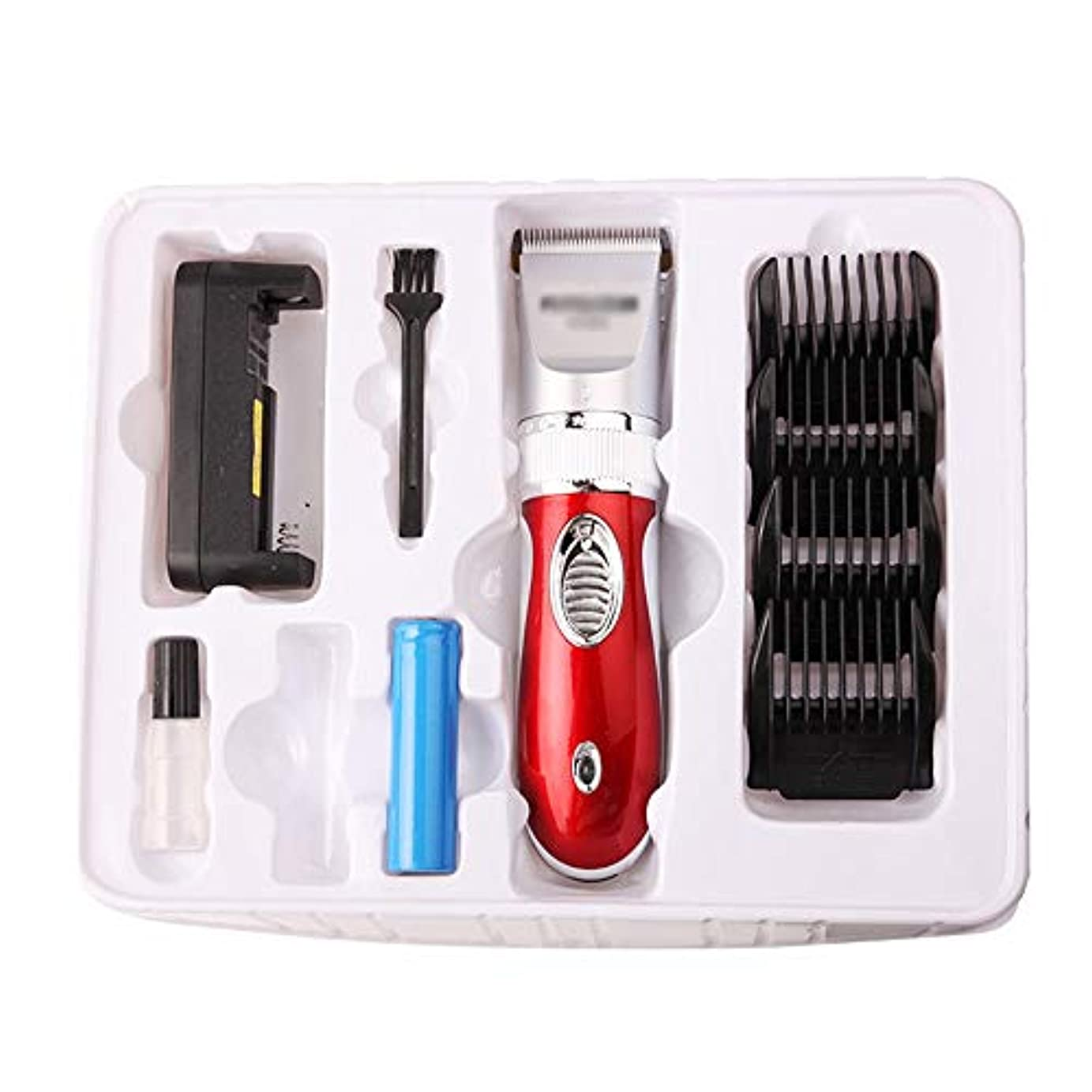 コンプリートパートナー属性WAKABAFK デュアルバッテリーユニバーサルセラミックカッターヘッド電気ヘアトリマーを充電低ノイズシェービング散髪バリカン (色 : レッド)