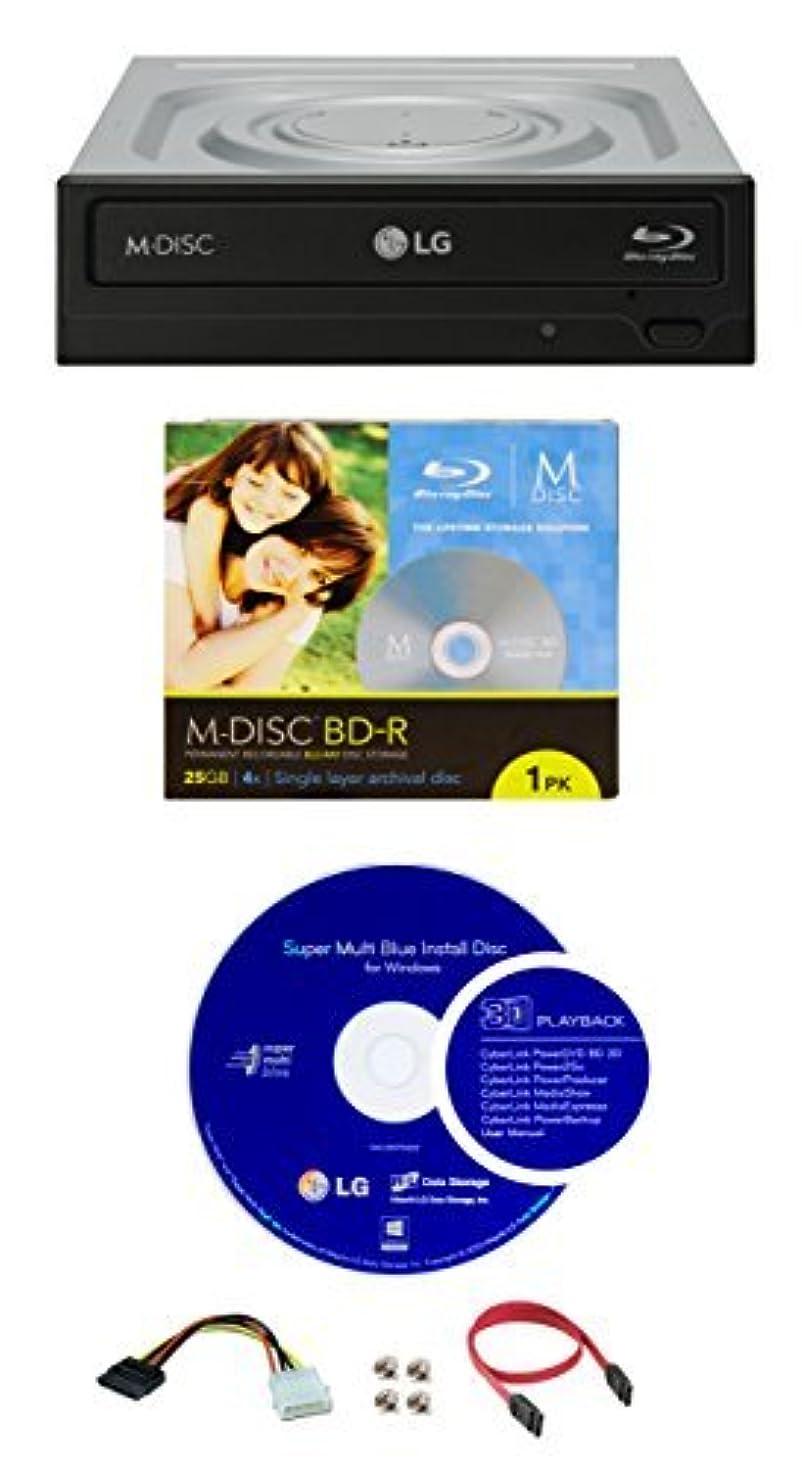 肺感覚ホテルLG 14x WH14NS40 Internal Blu-ray Writer Bundle with 1 Pack M-DISC BD, Cyberlink Burning Software and Cable Accessories (Supports CD DVD BD BDXL MDISC) [並行輸入品]