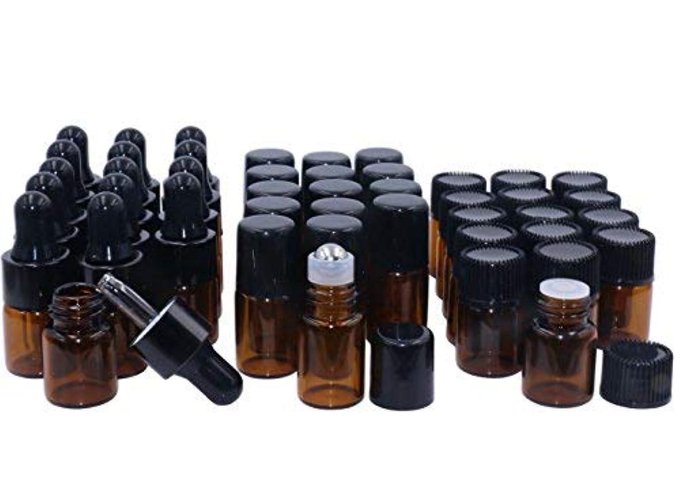 盟主ライセンスモスAmber Glass Essential Oil Bottles,2ml 15 Pack,Kit Included:Stainless Roller Ball Bottle,Eye Dropper Bottles,Aromatherapy...