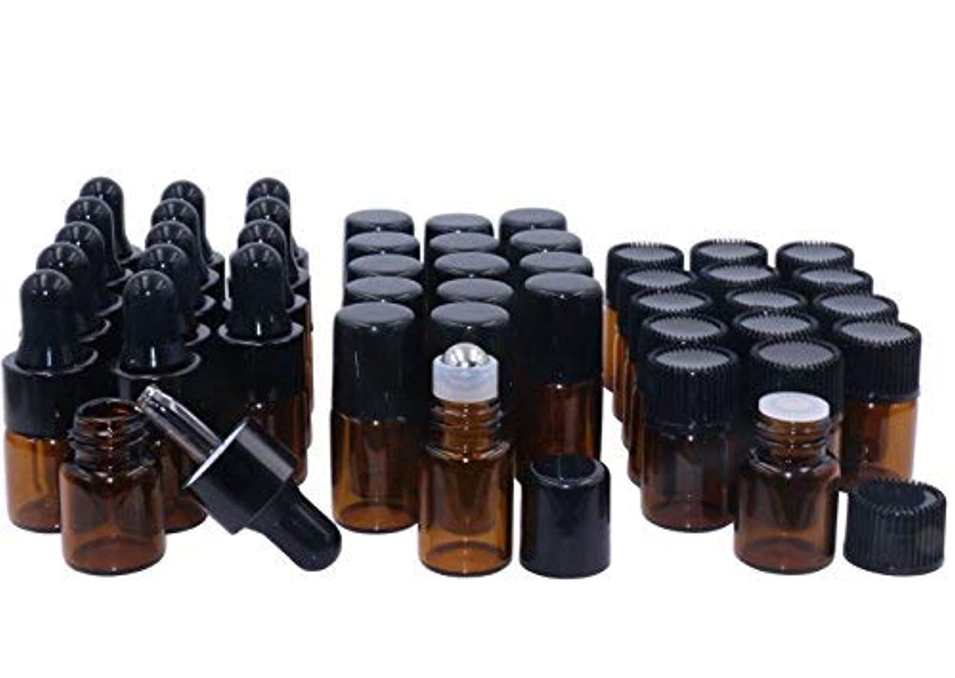 うそつき汚い冬Amber Glass Essential Oil Bottles,2ml 15 Pack,Kit Included:Stainless Roller Ball Bottle,Eye Dropper Bottles,Aromatherapy...