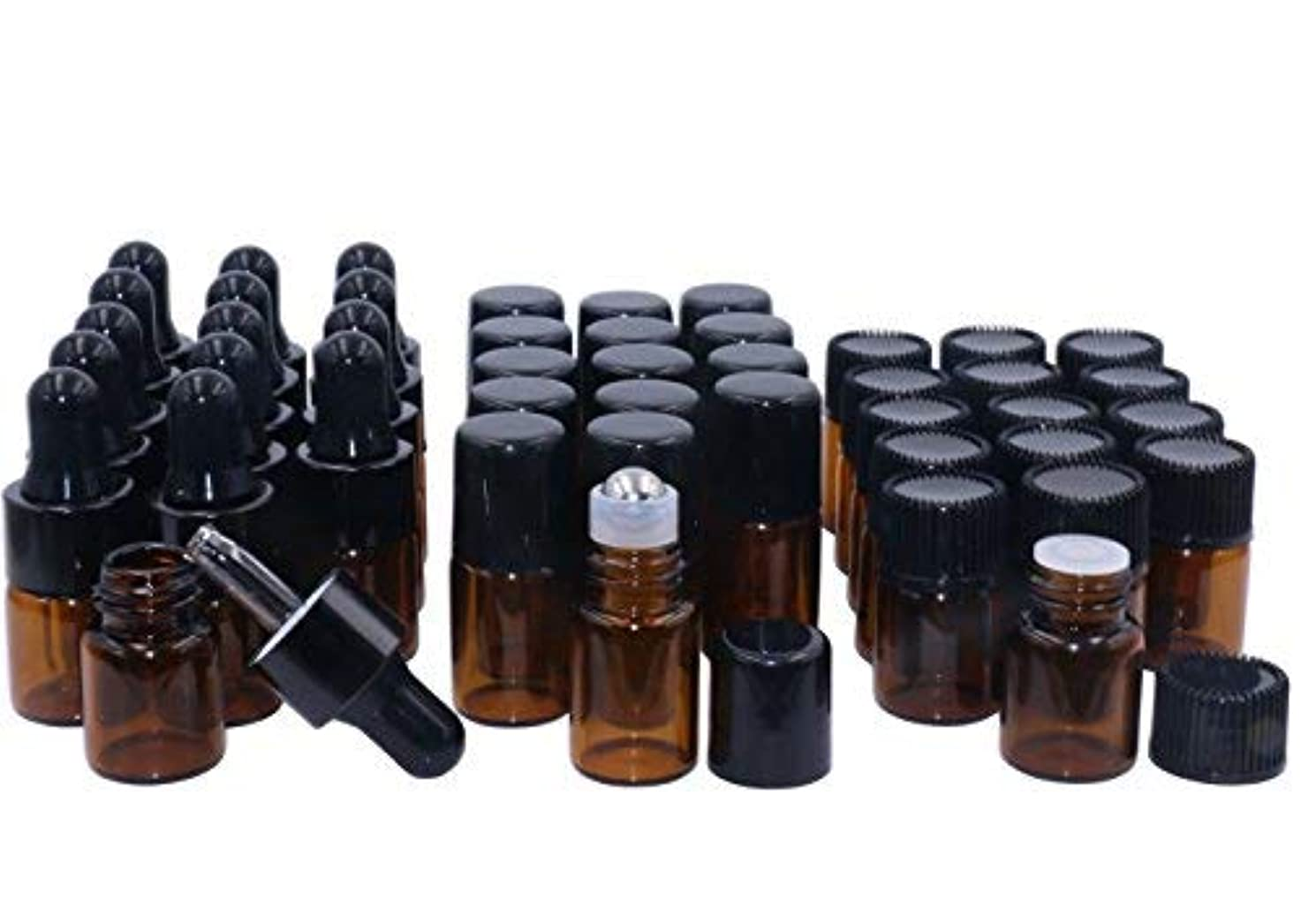 自殺受け入れ樹木Amber Glass Essential Oil Bottles,2ml 15 Pack,Kit Included:Stainless Roller Ball Bottle,Eye Dropper Bottles,Aromatherapy...