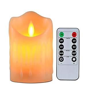 キャンドルライト、揺らぐ炎とワックスを垂らすのリアル感、単4形電池式(別売り)暖色光ledろうそく燈、リモコン付き、2/4/6/8時間を自動消燈設定、明るさも調整できる、パーティー、祈願、誕生日、記念日や結婚式により良い雰囲気作りが最適です、直径:7.5cm、高さ:8.5cm