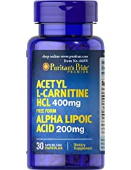 Acetyl L-Carnitine HCL 400mg Alpha Lipoic Acid 200mg 30カプセル [並行輸入品]