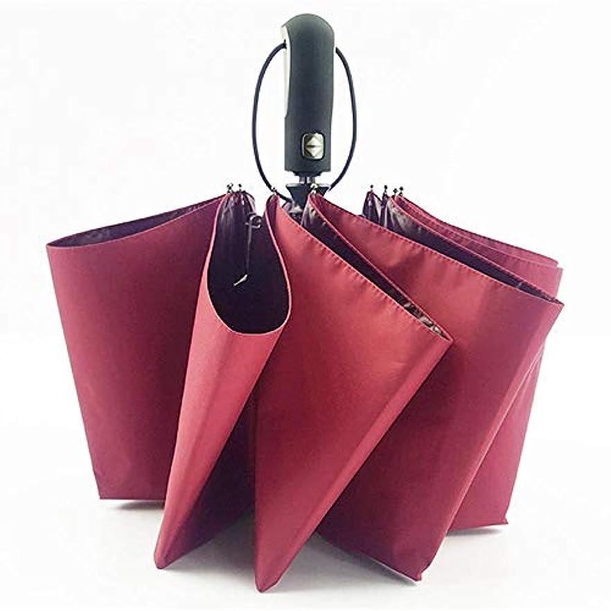 ワーム透明にアライアンスChuangshengnet 自動傘折りたたみ傘雨傘雨傘パラソルパラソル (Color : 赤)