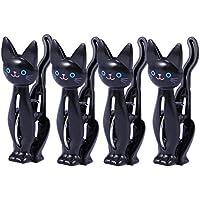 VORCOOL 4pcs Clothespinsバッグクリップかわいい漫画猫服ペグビーチタオルクリップ家庭用シーリングクリップ – ブラック