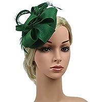 FENICAL Sinamay模造リネンフェザー魅力帽子ヴィンテージピルボックス女性のためのダービーハットカクテルパーティーのためのヘッドウェア結婚式教会ティーパーティ(ダークグリーン)