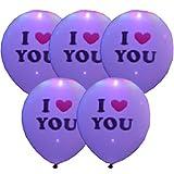 【5個セット】LEDライト内蔵の光る風船【I Love You ピンク】 使い方簡単 誕生会 クリスマス お祭 イベント イルミネーションとしても使用