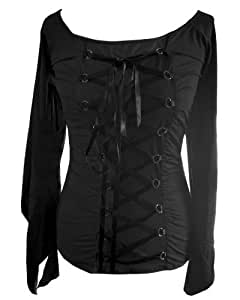 Black - Batwing Top Gothic Vintage Victorian Fancy Dress LARP Corset Size 10-12 by DangerousFX