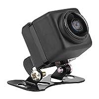 Qiilu 180° 広角度 車のリバースカメラ、 フィッシュアイレンズHD 夜間視力 車のフロントリバースバックアップカメラ