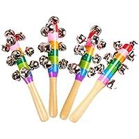 2 Pcs Vivid Colour Rainbow Handle Wooden Bells Jingle Stick Shaker Rattle Baby Kids Children Musical Toys