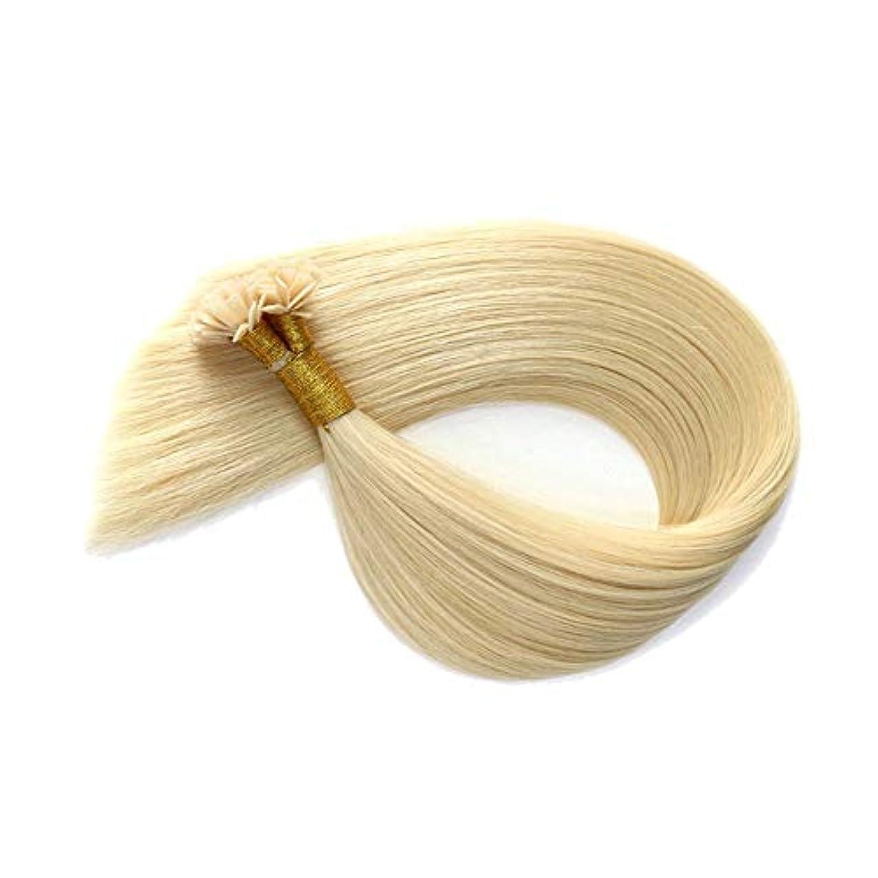 列挙する銀河四半期JULYTER ブロンドのナノヘアエクステンションライトフラットチップヘア100%人の連続的なネイルヘア (色 : Blonde, サイズ : 16 inch)