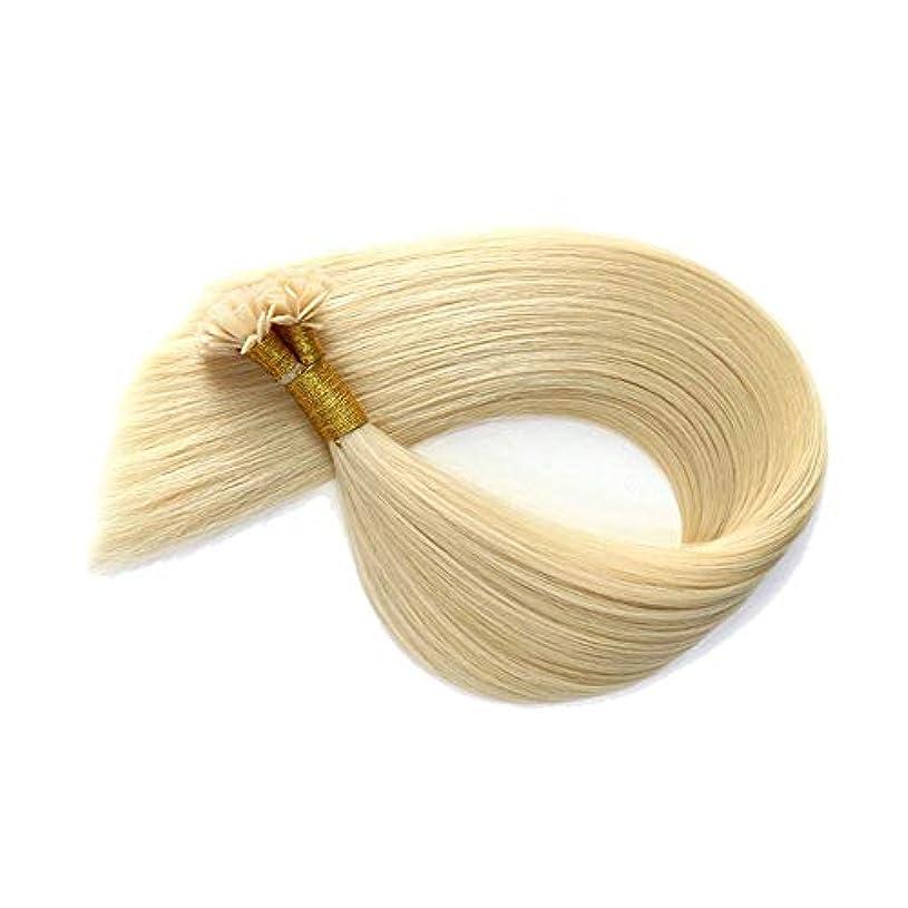 受け入れた簡単に知覚WASAIO ヘアエクステンションライトフラットチップ100%人間の曲がっていないネイルクリップ裏地なし髪型 (色 : Blonde, サイズ : 24 inch)