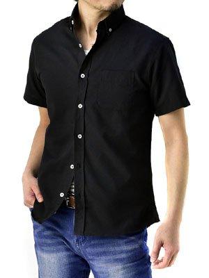 (フラグオンクルー) FLAG ON CREW オックスフォードシャツ メンズ 半袖 シャツ ボタンダウン / a7s / L ブラック・黒