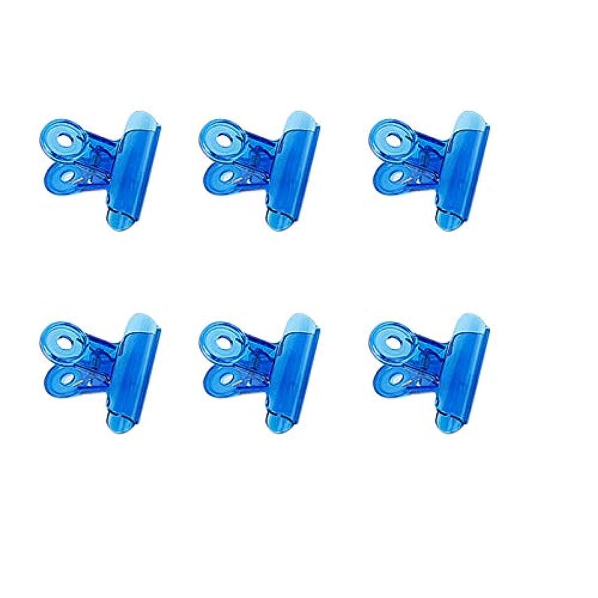お気に入りなしで植生CUHAWUDBA 6個/セット Cカーブネイルピンチクリップ 多機能ツール アクリルネイルピンチャー ペンチブルー