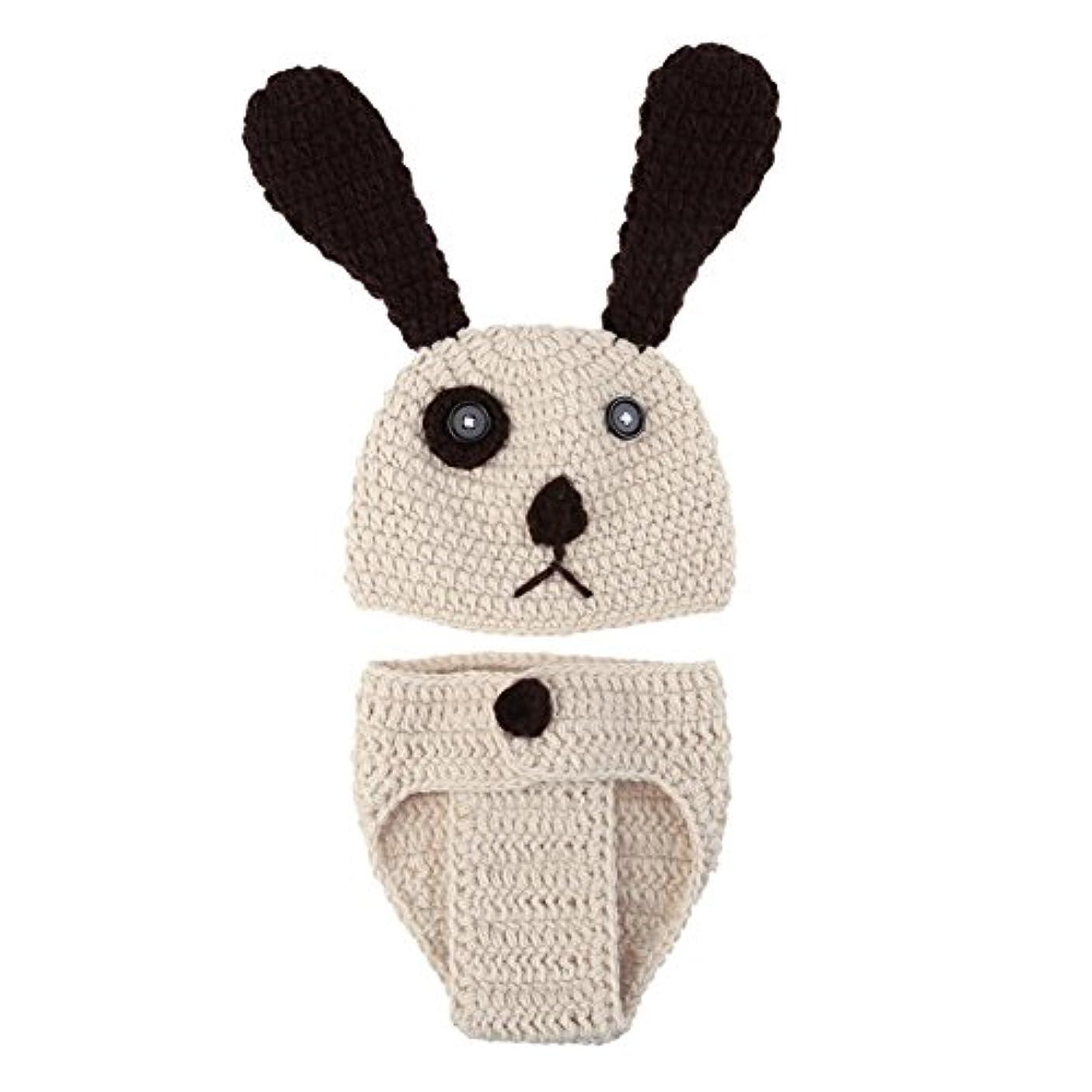 突撃会計士シネウィBestjpshop 可愛い 新生児 赤ちゃん ニット 写真撮影 コスチューム 着ぐるみ スタジオ撮影衣類  大きな耳の犬のセット 手作り 写真の小道具 ベージュ