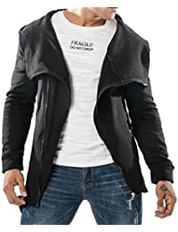 Keaac メンズファッションヒップホップヒップホップ非対称ジップフーディー不規則ヘムジャケット