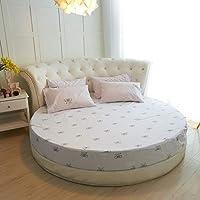 ラウンド ベッド フィット シート, ベッド カバー 純粋な色 100% コットン ホテル ラウンド ベッド マットレス カバー シーツ + 25 cm-A 直径200cm(79inch)+2 Pillowcase