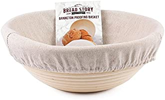 (22 cm) Round Banneton Proofing Basket Set - Brotform Handmade Unbleached Natural Cane For homemade Crusty Fresh, Easy...