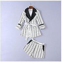 XuBa Women New Runway Designer Suit Sets Striped Blazer Suits Casual 3/4 Sleeve White Elegant Office Blazer Shorts Suits