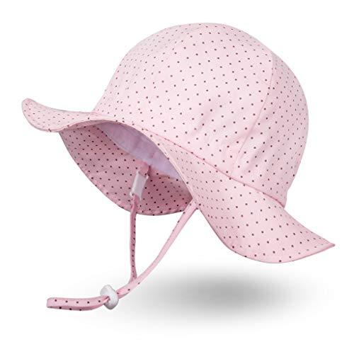 Ami&Li 赤ちゃん、子供の日よけ帽コットン広いつば太陽の帽子調節可能な UPF 50 - M: ポルカドットピンク