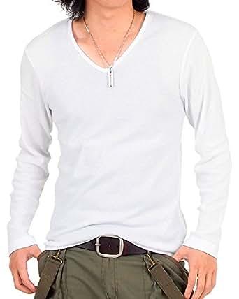 (トップイズム) TopIsm 【カラー8色】フライス無地VネックロングTシャツ長袖Tシャツ M 1-ホワイト