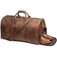 """LeatherFocus Mens Leather Travel Bag, 24"""" Leather Weekend Bag Duffle Overnight Carry on Luggage"""