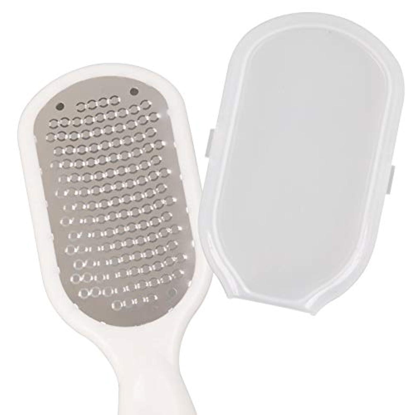 パイプ苦い称賛Climing-Beauty- かかと 角質取り かかと削り器 お風呂 防水 軽石 水洗いOK 衛生的な 角質 リムーバー 削り ケア 除去 保護カバー付 (ホワイト)