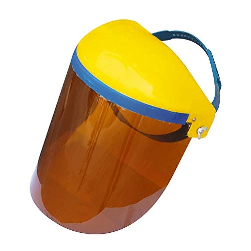 ブラケット脅かす協力的BESTONZON キッチン調理両面防曇防油スプラッシュクリアフェイスマスクフェイスシールドプロテクター(ブラウン)