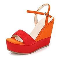 オレンジのセクシーなプラットフォームハイヒール、ファッションレディースウェッジサンダル、厚手のボトムオープントートレディースシューズ (色 : Orange 12cm, サイズ さいず : 39)