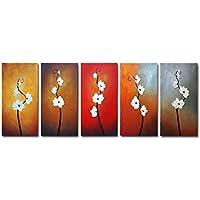 Wieco art-for You III 100%手描きベストセラー品質Goods木製フレーム付き背面の高Q。壁の装飾花油絵のキャンバス5点/セット 12x24inchx5pcs (30x60cmx5pcs) FL5073-3060