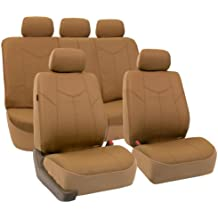 FH Group PU009TAN115 Tan Rome PU Leather Car Seat Cover (Split Bench and Airbag Ready Full Set)
