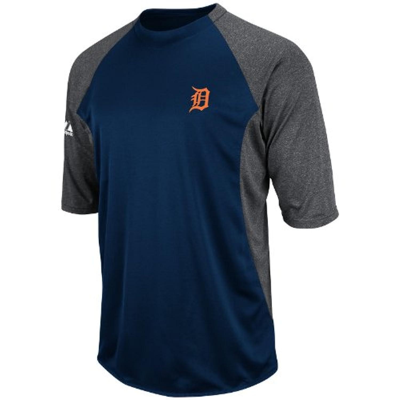 MLB Detroit Tigers 3 / 4スリーブクルーネックFeatherweight Techフリースプルオーバー、ネイビー/グレー/オレンジ、大