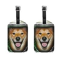 ネームタグ 荷物タグ 柴犬 宇宙飛行士 タグ 旅行 かわいい おしゃれ スーツケースタグ 名札 PUレザー 耐久性 目立つ 個性 2枚入り
