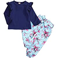 YOUNGER TREE Kids ToddlerBaby Little Girls Fall Outfits Ruffle Long Sleeve T-Shirt+Floral Print Pants Winter Clothes Set